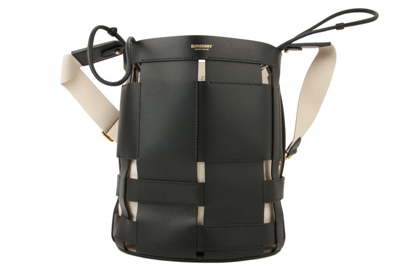 Burberry Beuteltasche aus gewebten Lederstreifen Schwarz