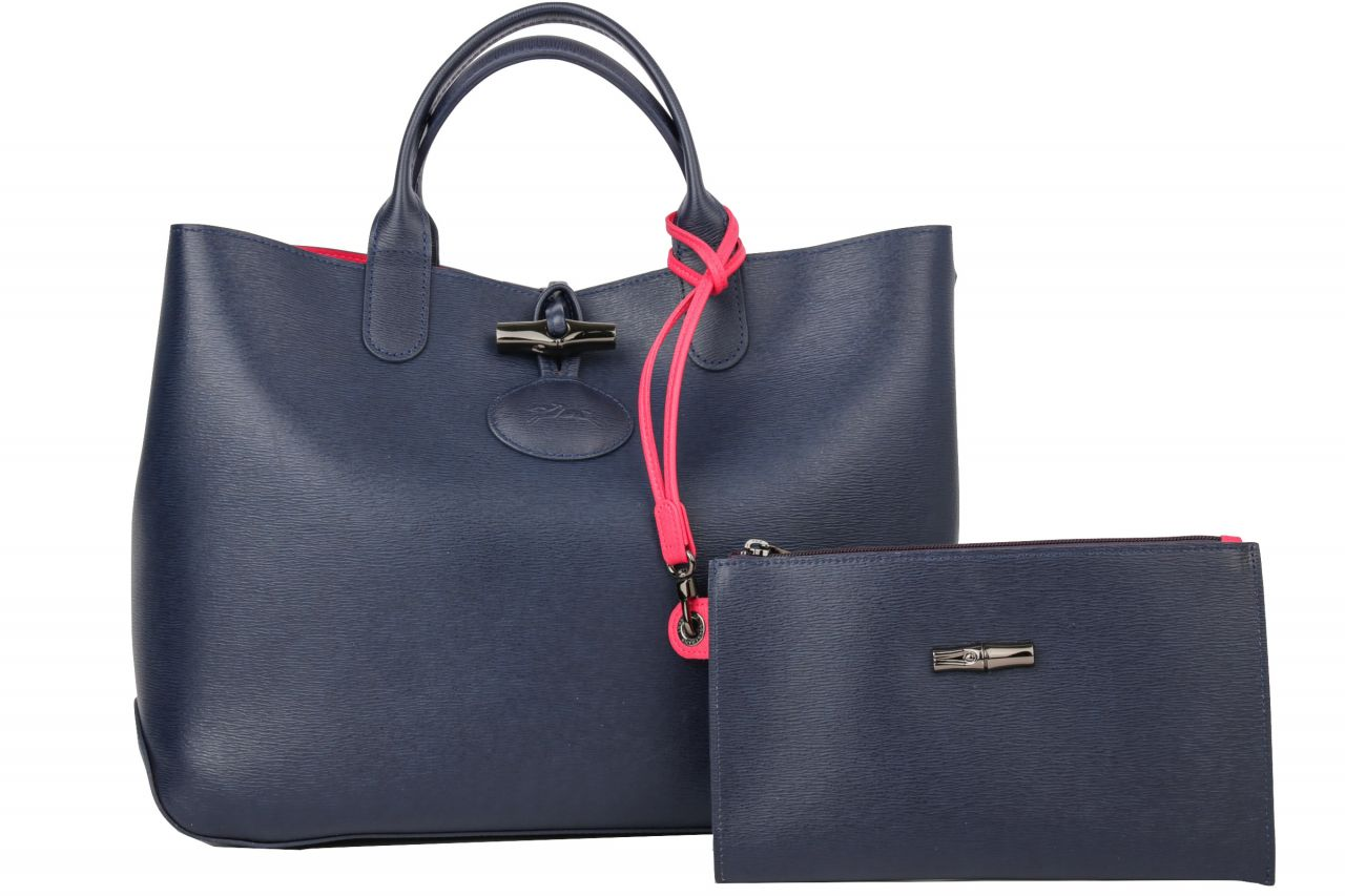 Longchamp Roseau Shoulderbag Blau inkl. Pochette