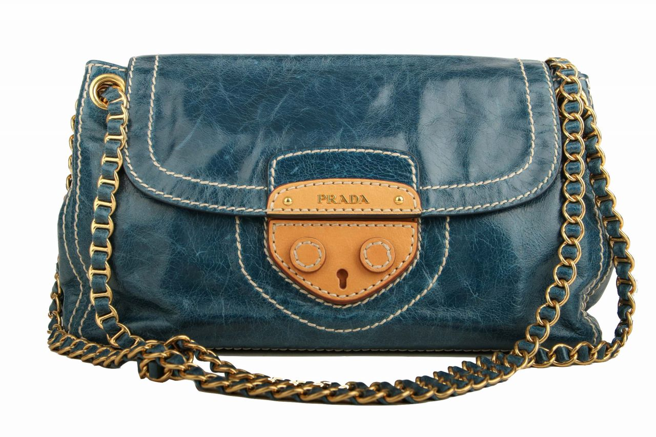 Prada Shoulder Bag Vitello Shine Blue Denim