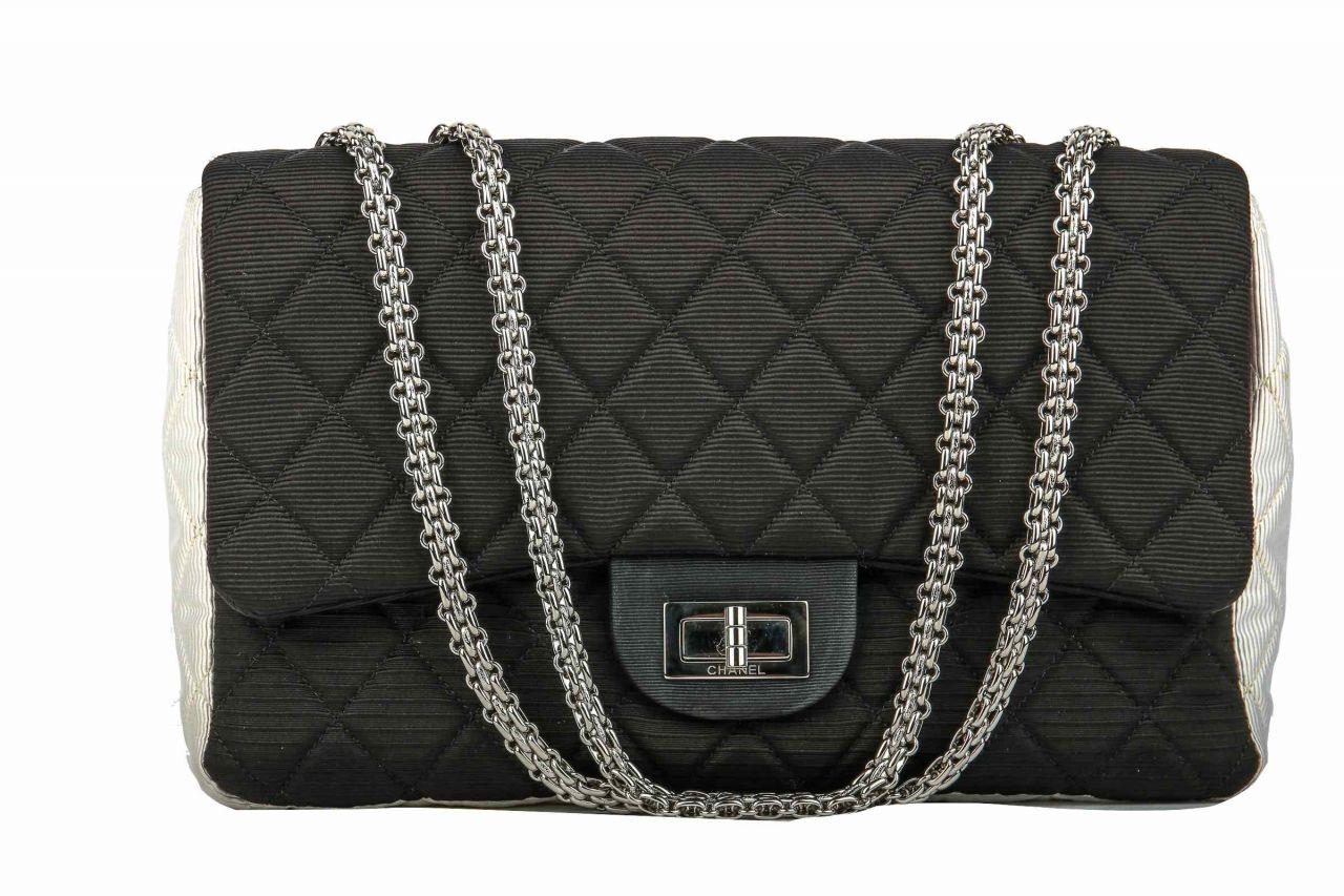 Chanel 2.55 Jumbo Bag Black And White