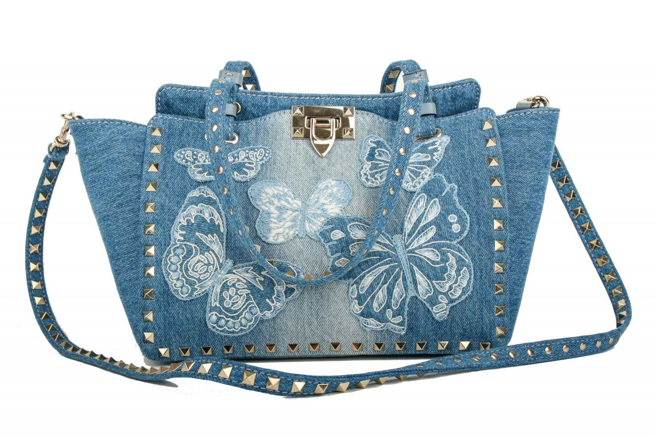 Valentino Rockstud Denim Butterfly Tote Bag