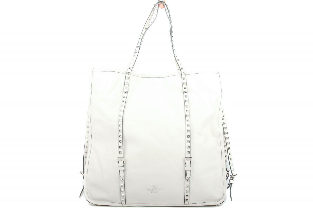 Valentino Studded Shopping Bag Weiss