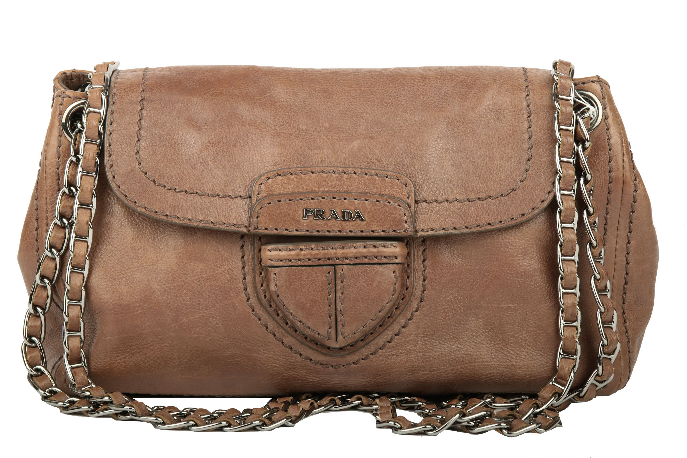 3c5f8b80b6b0b Prada Leather Flap Chain Shoulder Bag Braun