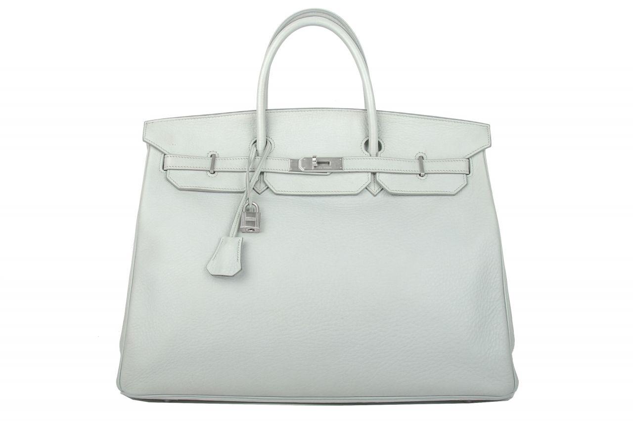 Hermès Birkin 40 Ciel Clemence Leder