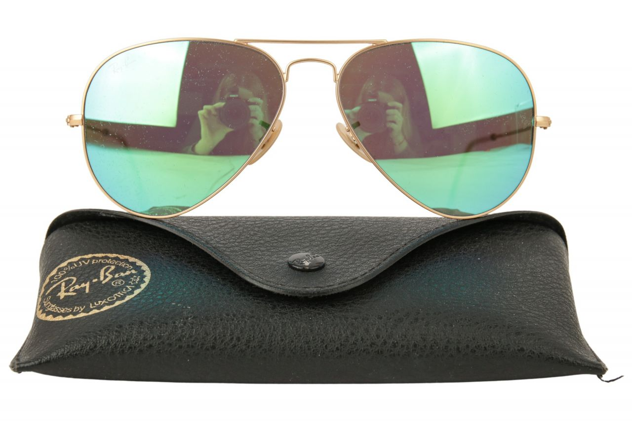 Ray-Ban Aviator Sonnenbrille RB3025 Grün Metallic