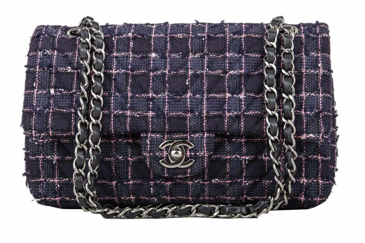 Chanel Timeless Classic Double Flap Medium Lila Tweed