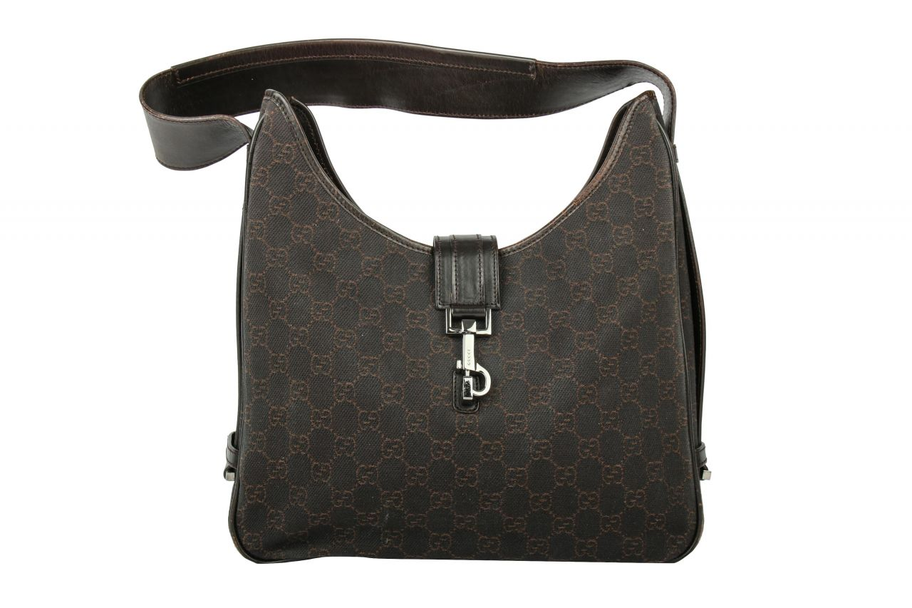 Gucci Shoulder Bag Guccissima Canvas Dark Brown