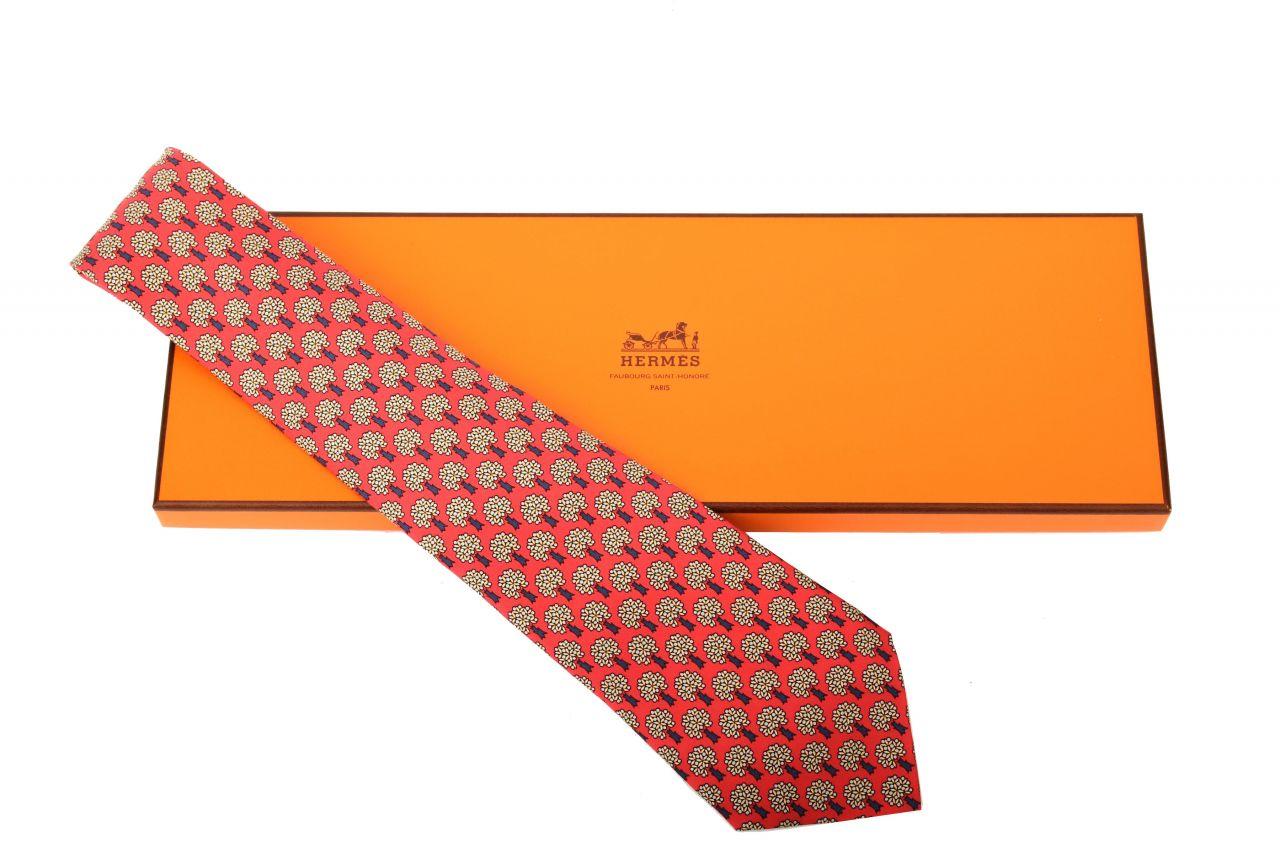 Hermès Krawatte Rot Floral