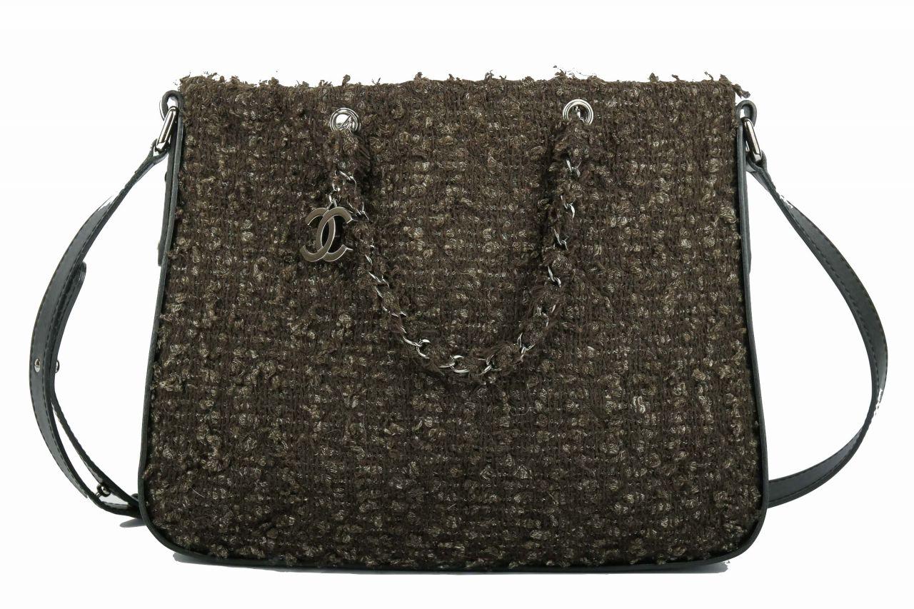 Chanel Tweed Messenger Bag Schwarz