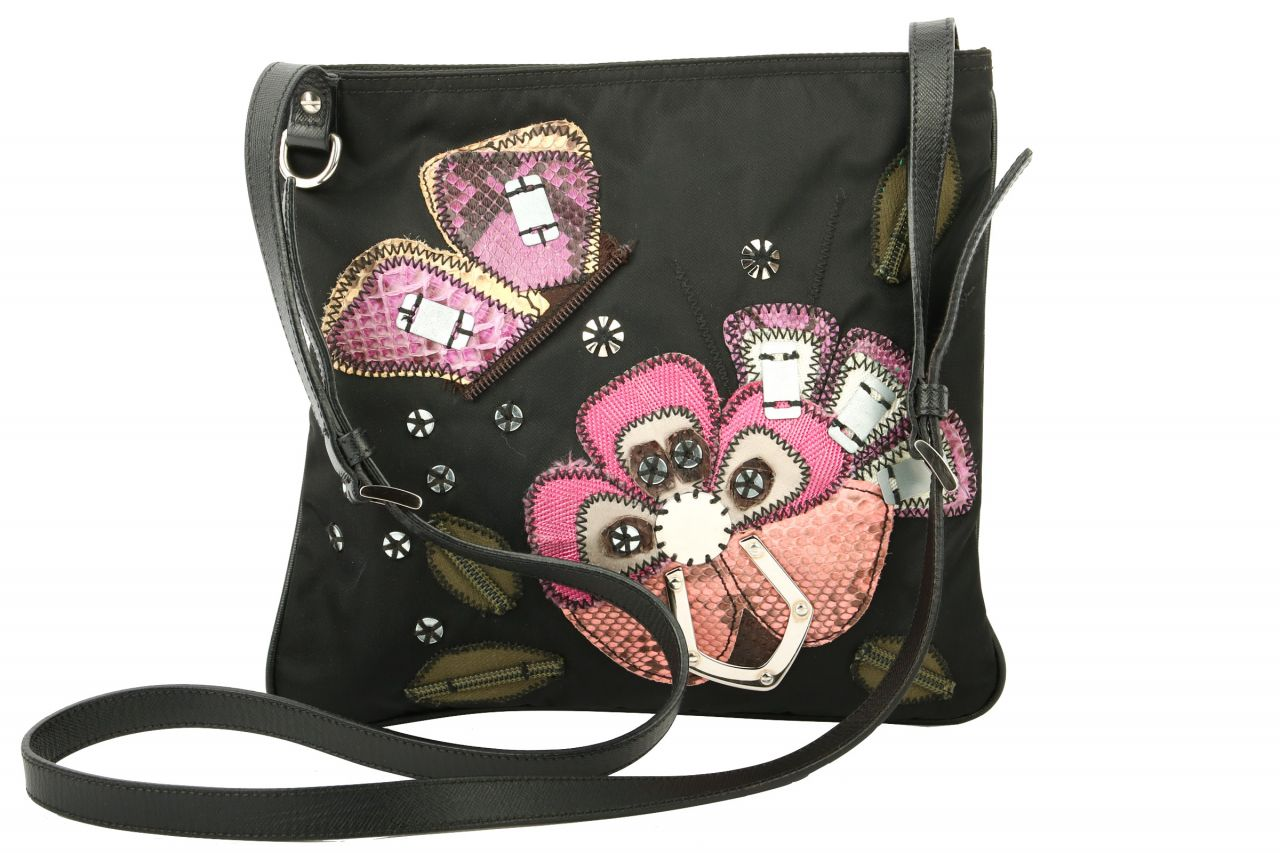 Prada Nylon Crossbody Bag Schwarz Floral