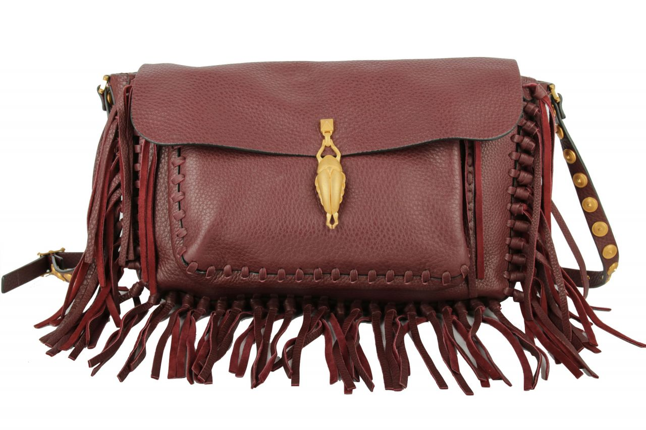 Valentino Scarab Fringe Bag Bordeaux