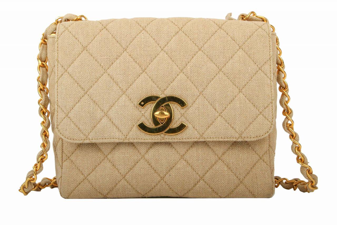 Chanel Leinentasche Beige