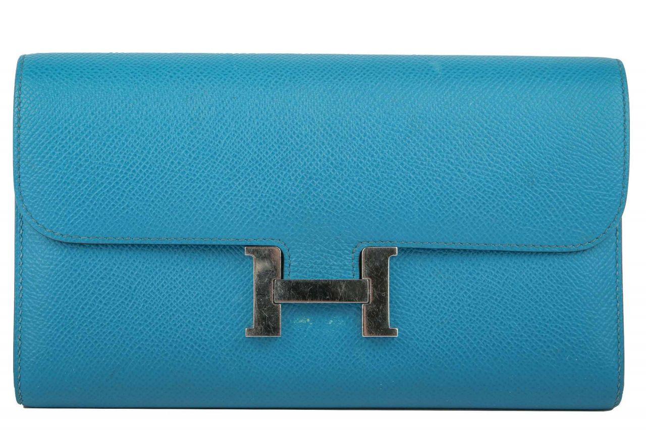 Hermès Clutch Constance Long Veau Epsom Bleu Izmir