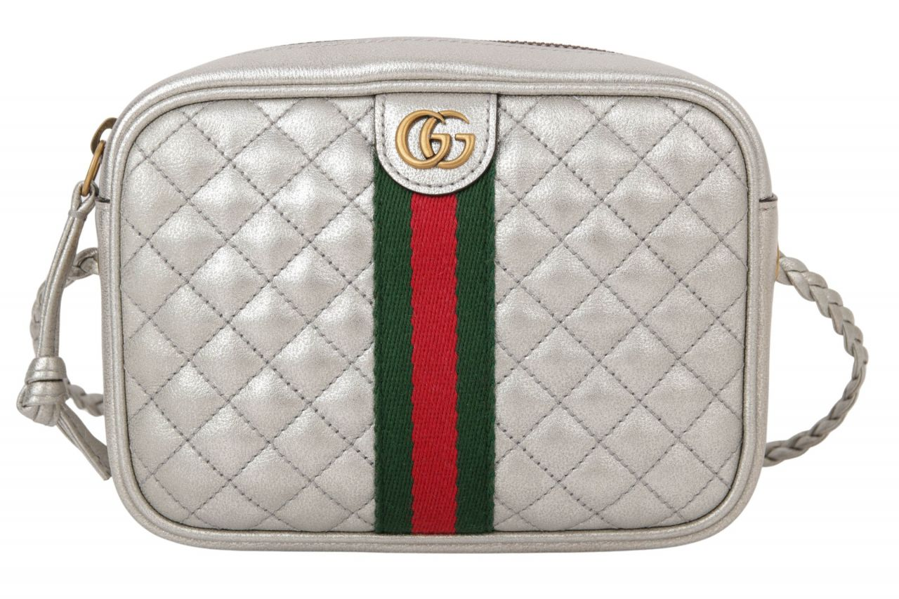 Gucci Mini Quilted Ophidia Cross Body Bag Silber