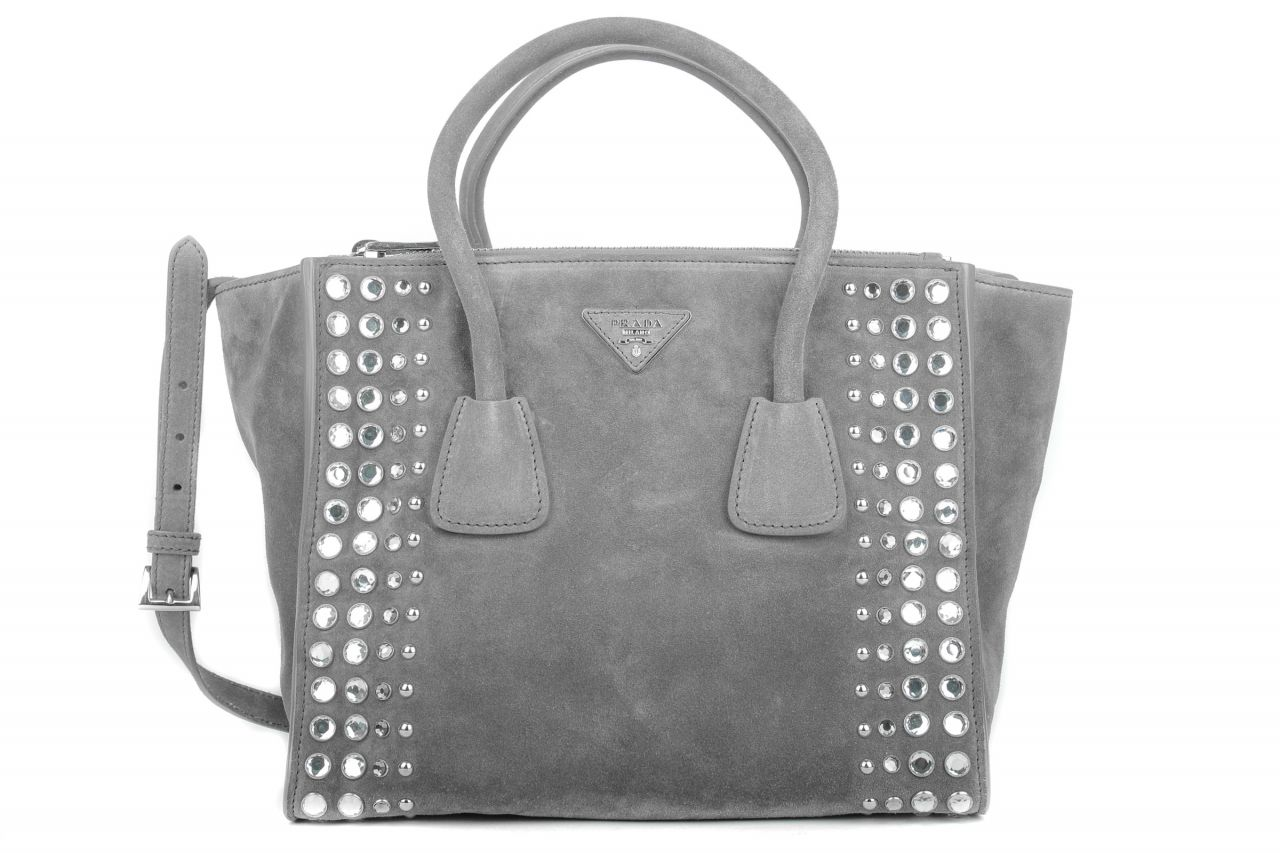 Prada Twin Pocket Tote Studded Wildleder Grau