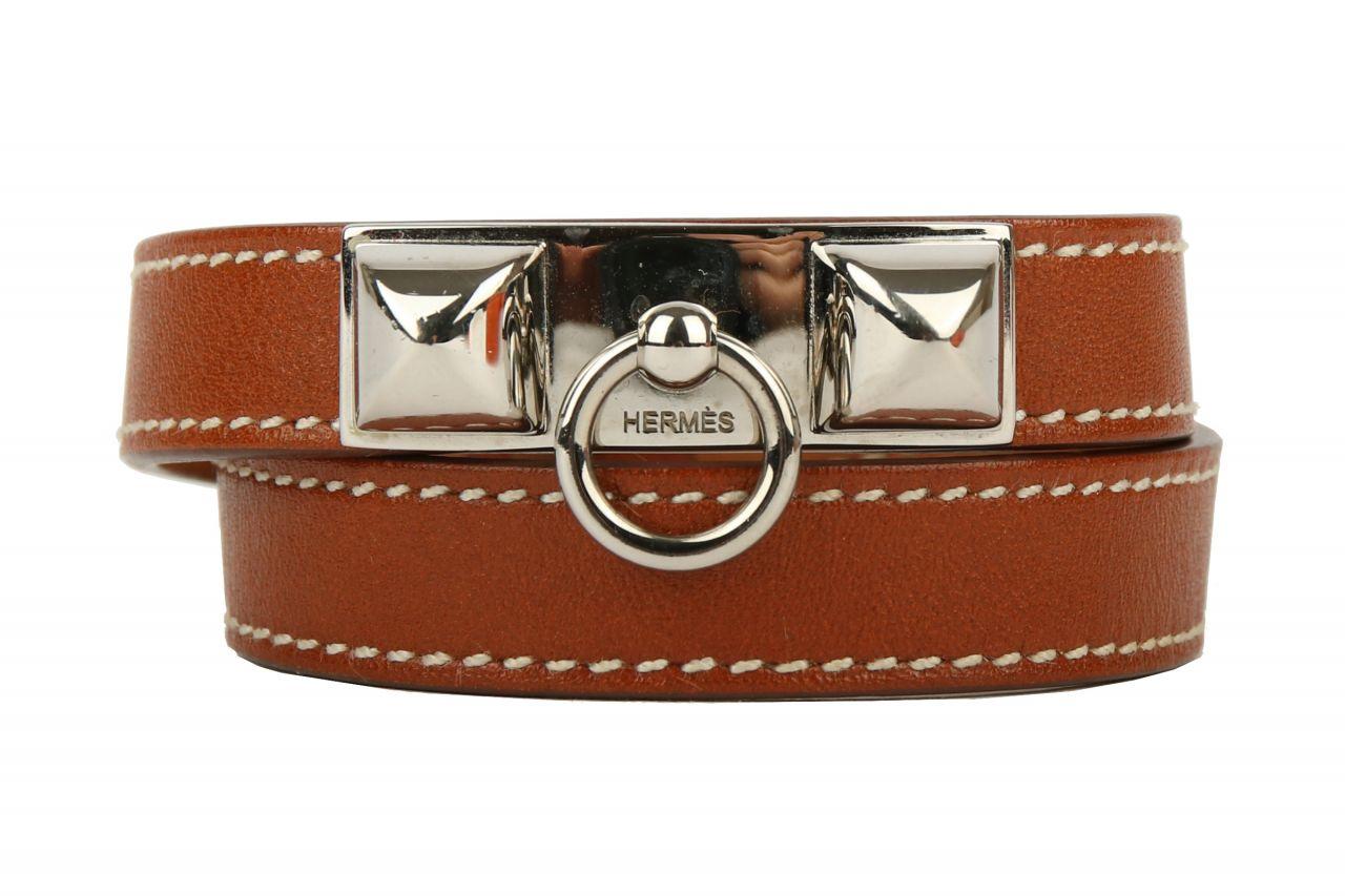 Hermès Armband Rivale Double Tour Cognac