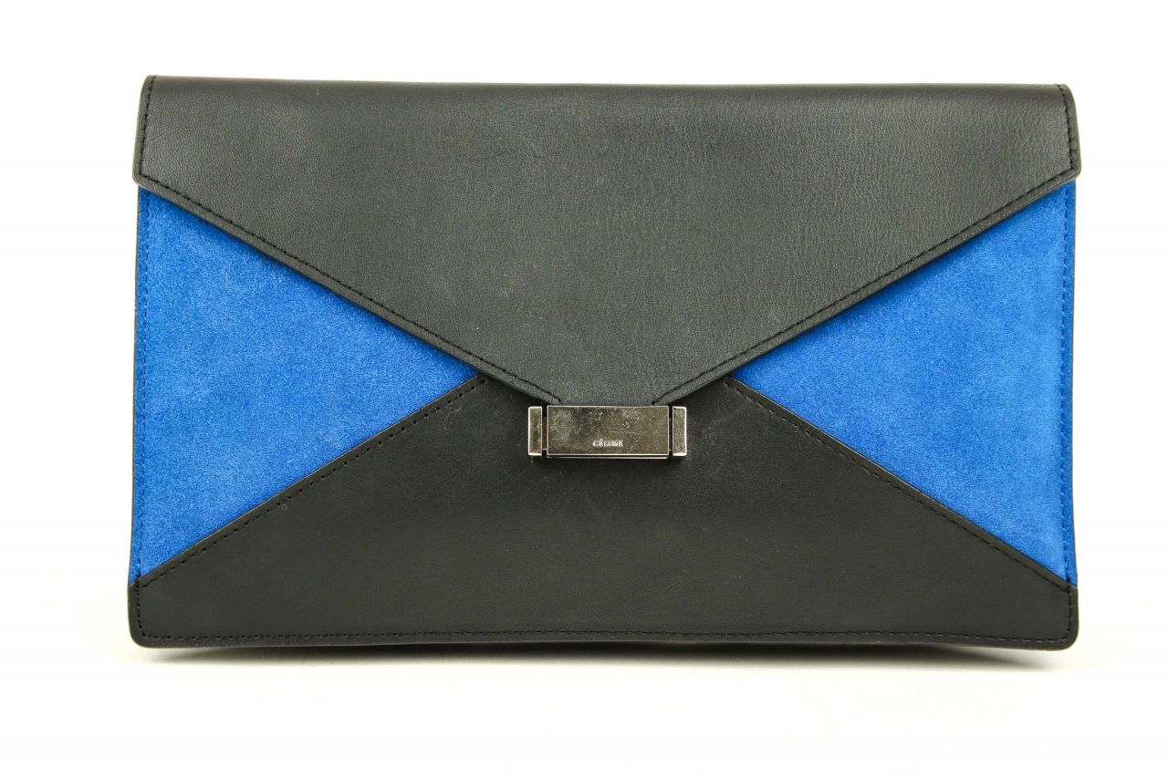 Céline Diamond Clutch Schwarz/Royalblau