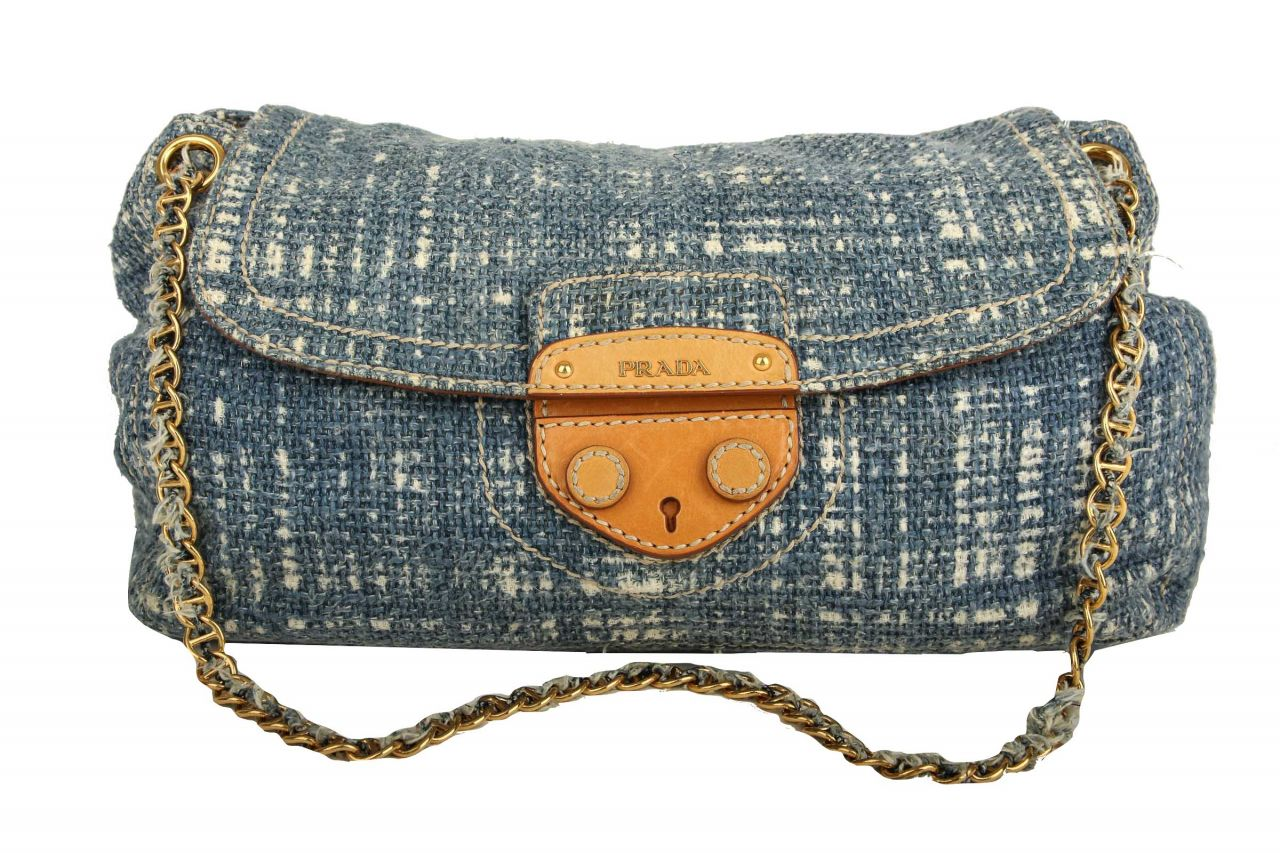 Prada Tweed Bag on Chain Jeans