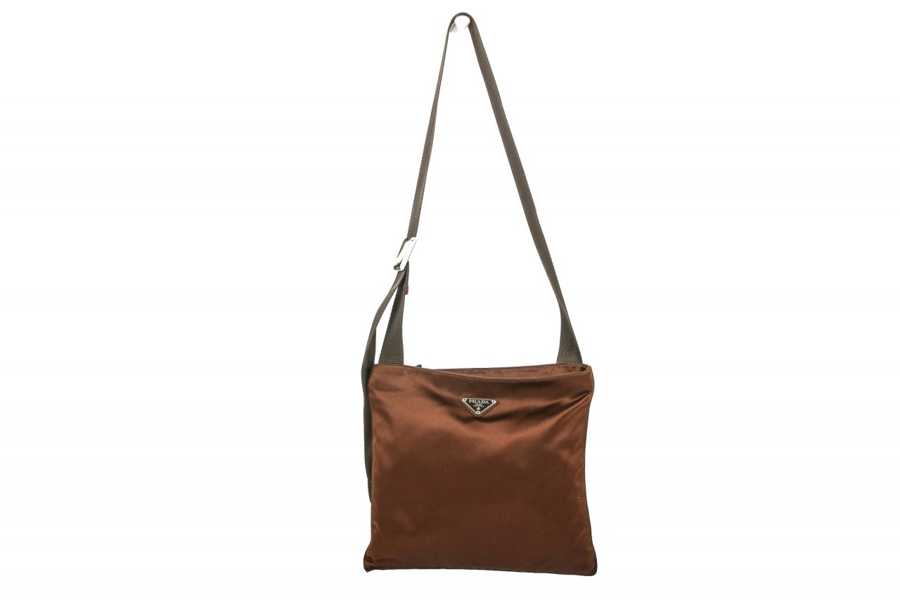 Prada Vela Satin Bag Brown