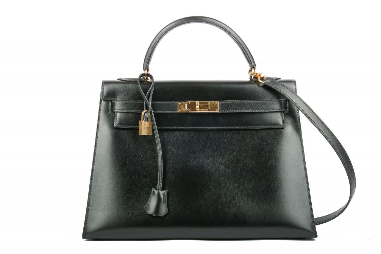 Hermès Kelly Bag 32 Sellier Noir Boxleder Bijou Ore