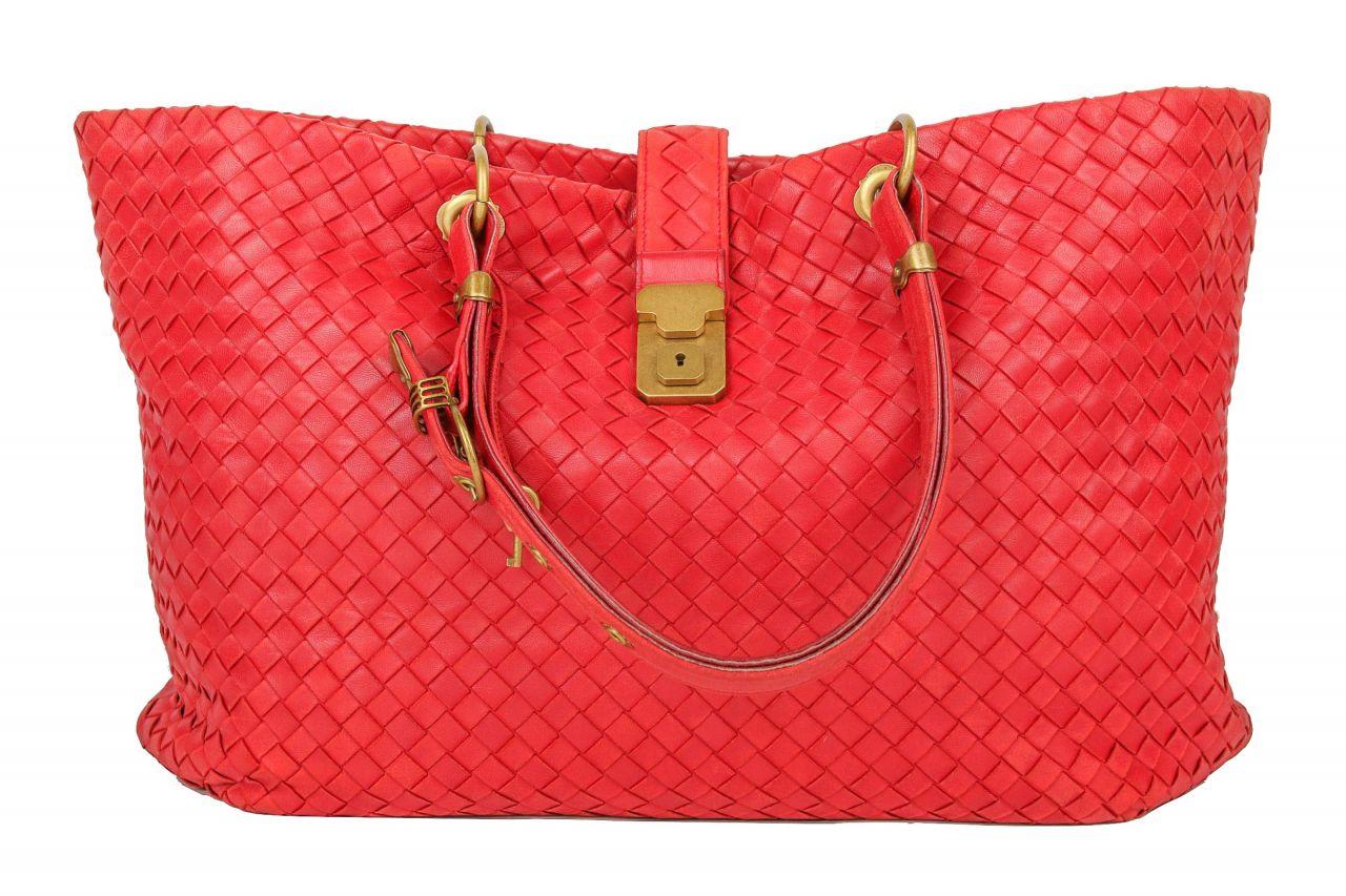 Bottega Veneta Intrecciato Nappa Capri Bag Red