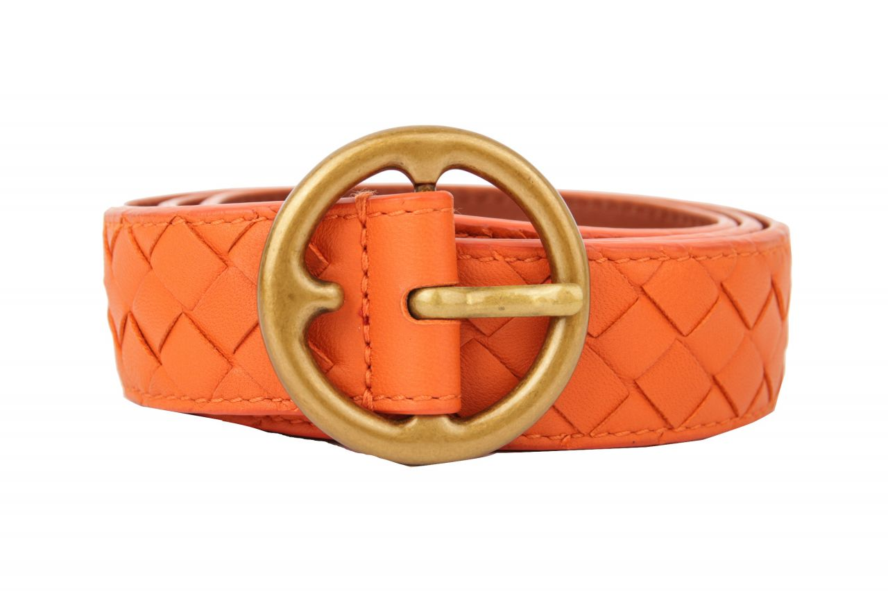 Bottega Veneta Intrecciato Ledergürtel Orange