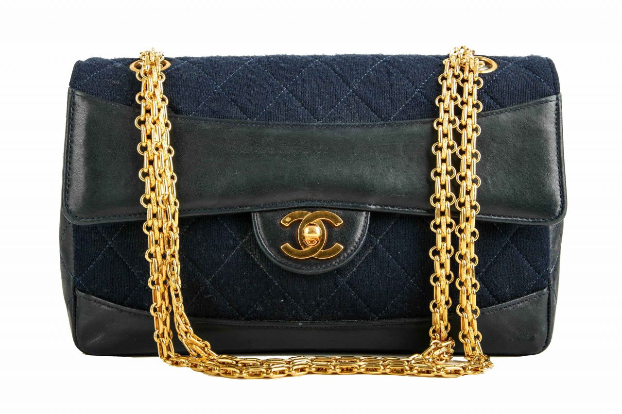 Chanel Timeless Leather Jersey Blue