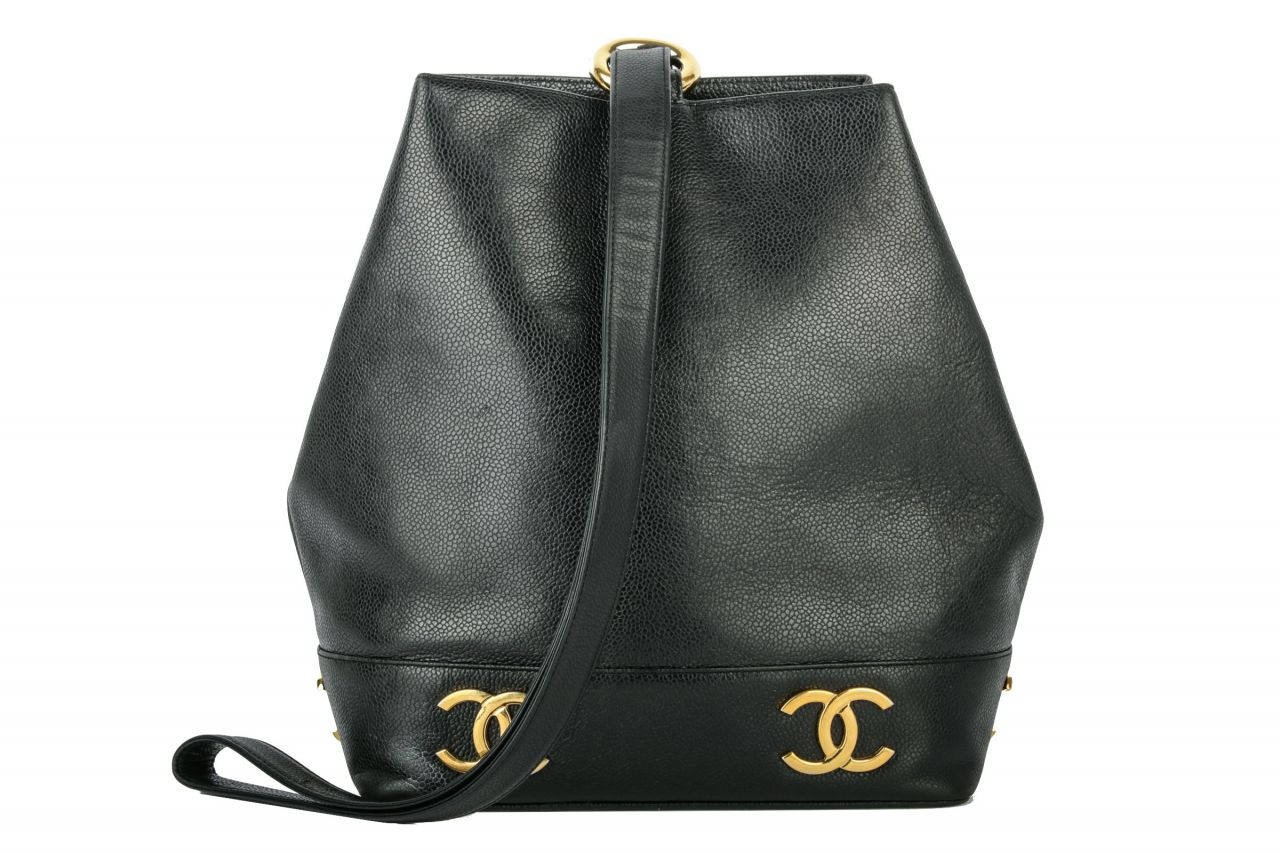 Chanel Bucket Bag Kaviar Leather Black