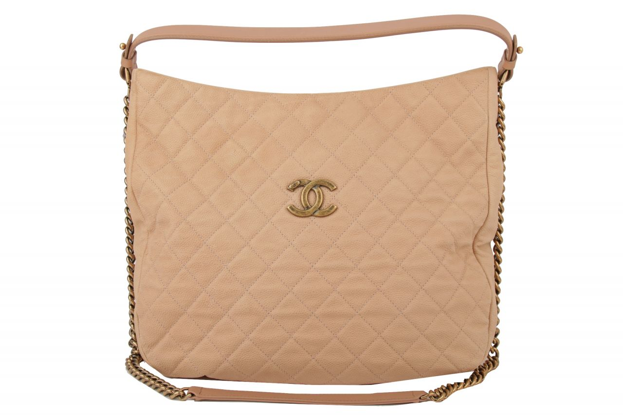 Chanel Hobo Bag Kaviar Leder Nude
