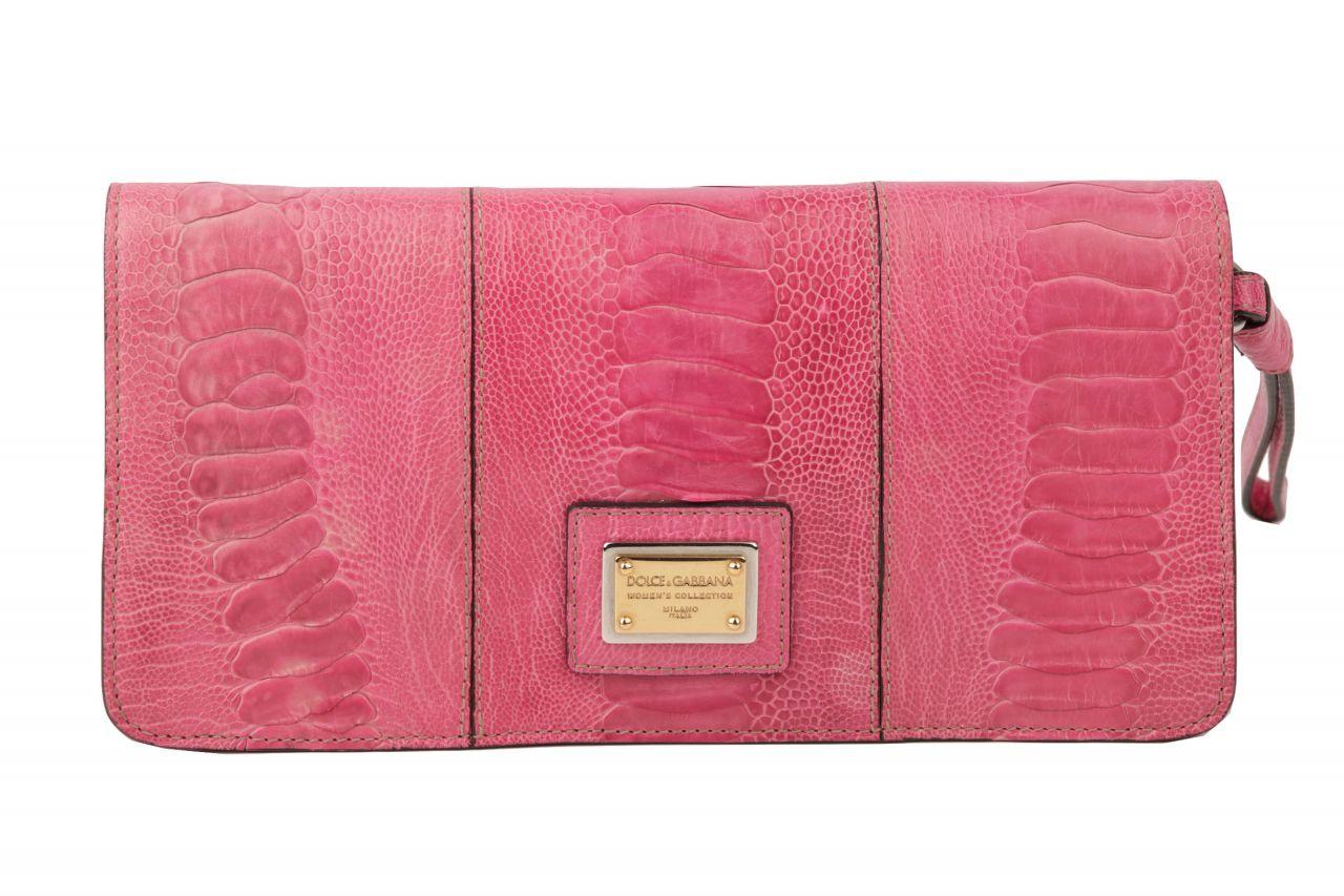 Dolce & Gabbana Miss Zoe Clutch Kroko-Optik Pink