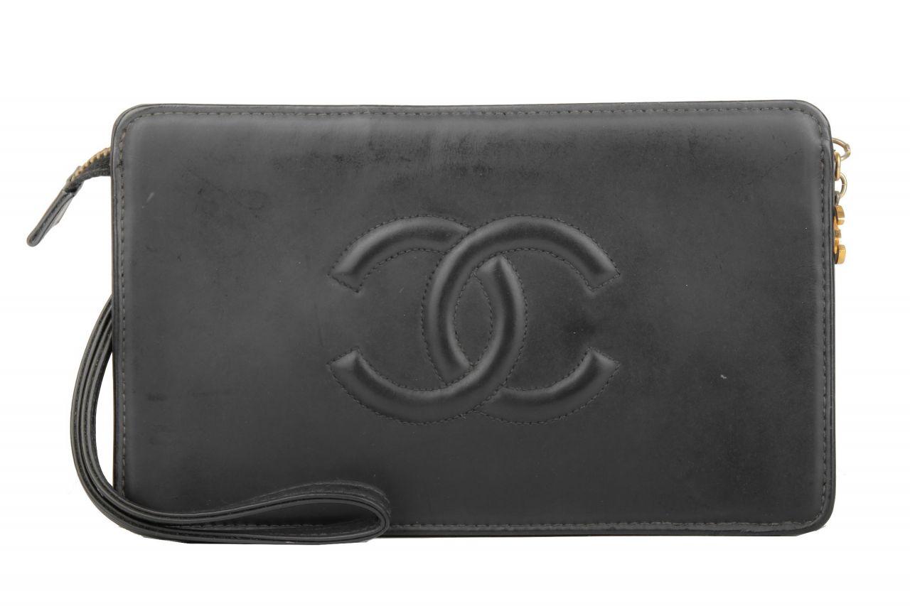 Vintage Chanel Handgelenktasche Schwarz