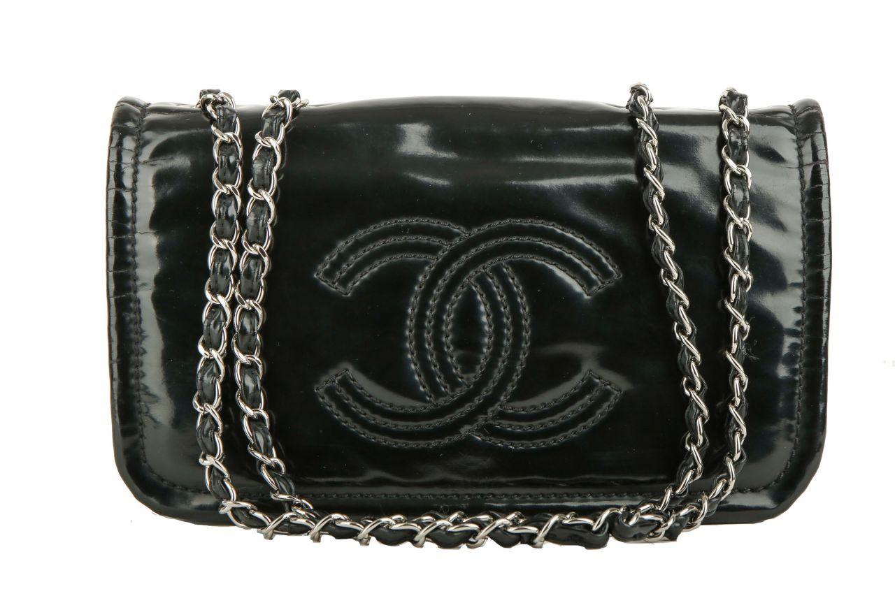 Chanel Vintage Schultertasche Schwarz Lack