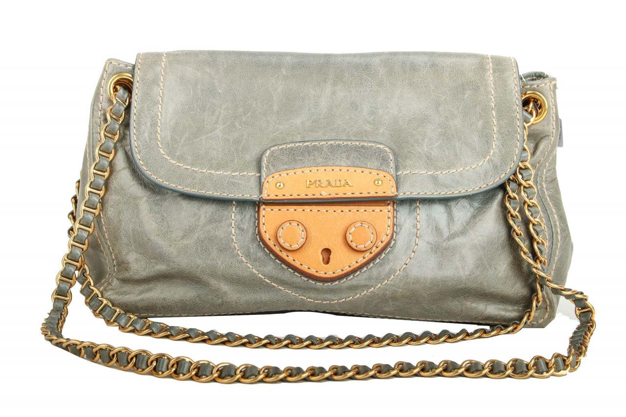 Prada Shoulder Bag Vitello Shine Blue