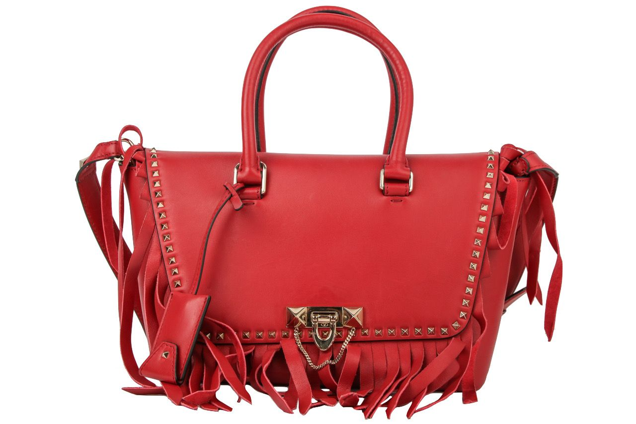 Valentino Rockstud Handtasche mit Fransen Rot