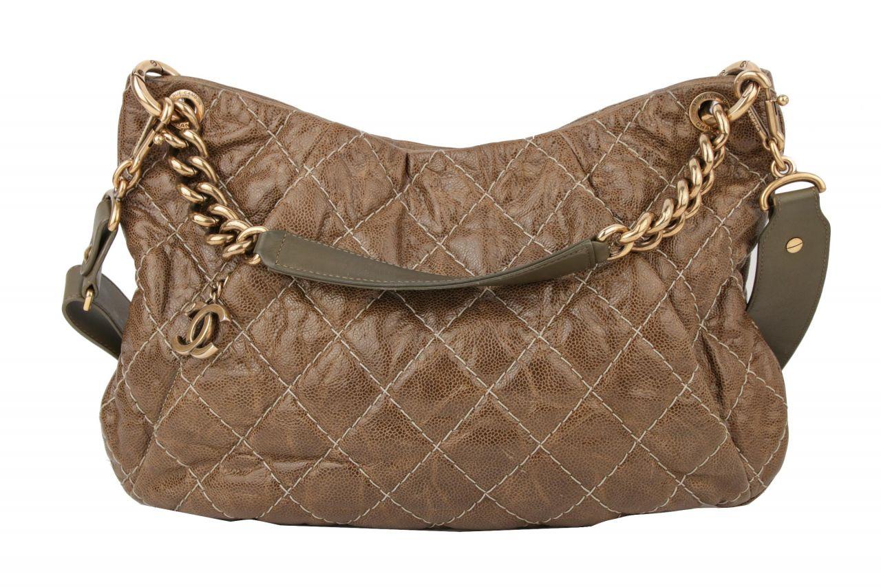 Chanel Schultertasche Khaki