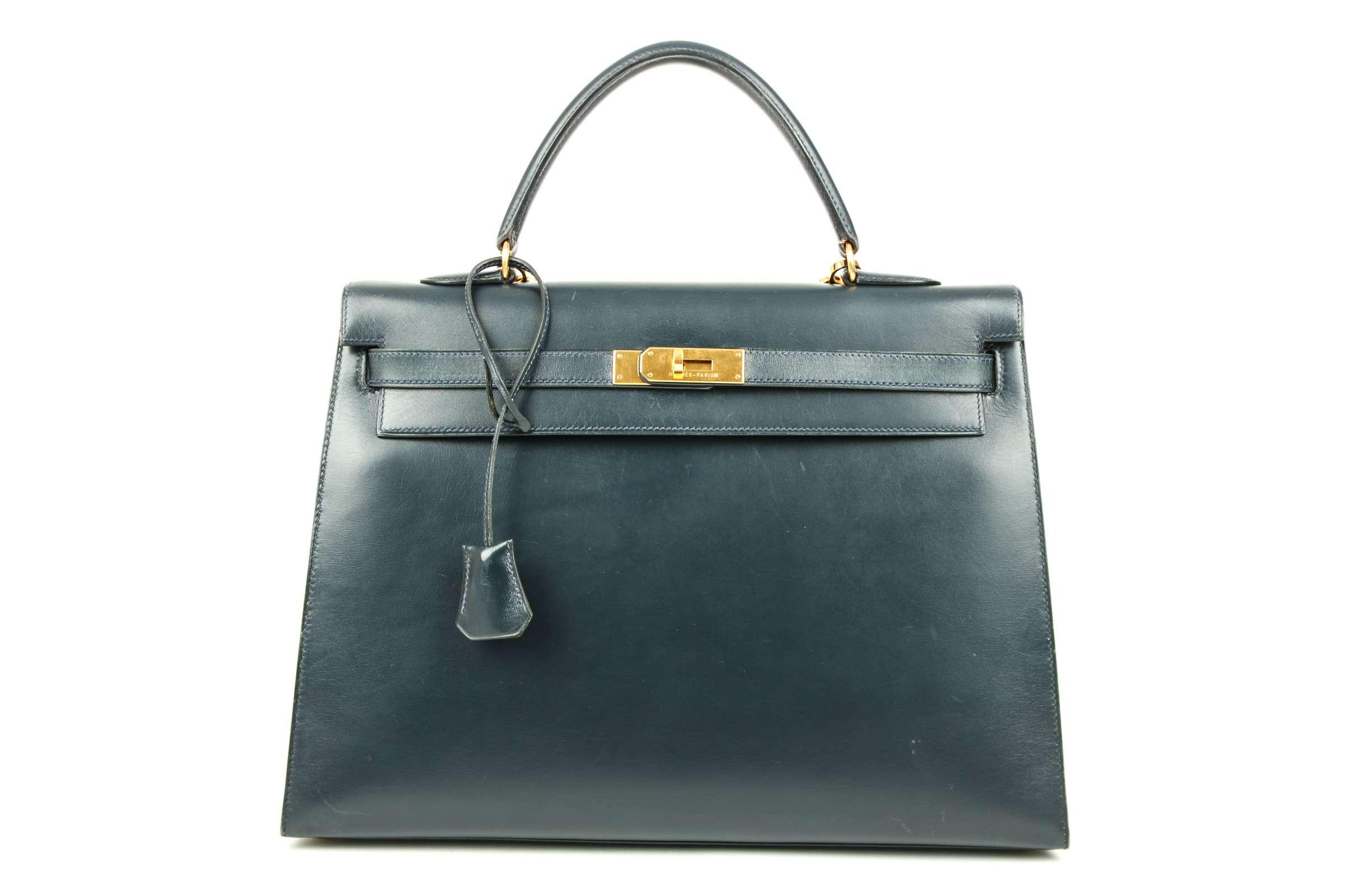 9c8ff6f17c72 Hermès Kelly Bag 35 Dark blue with shoulder strap
