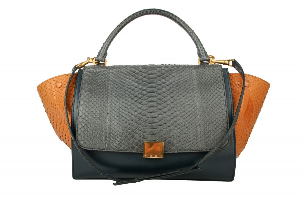 Céline Trapeze Bag Medium Tricolor Python