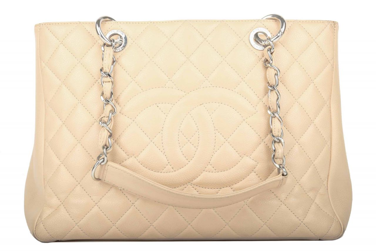 Chanel Shopper Kaviarleder Beige