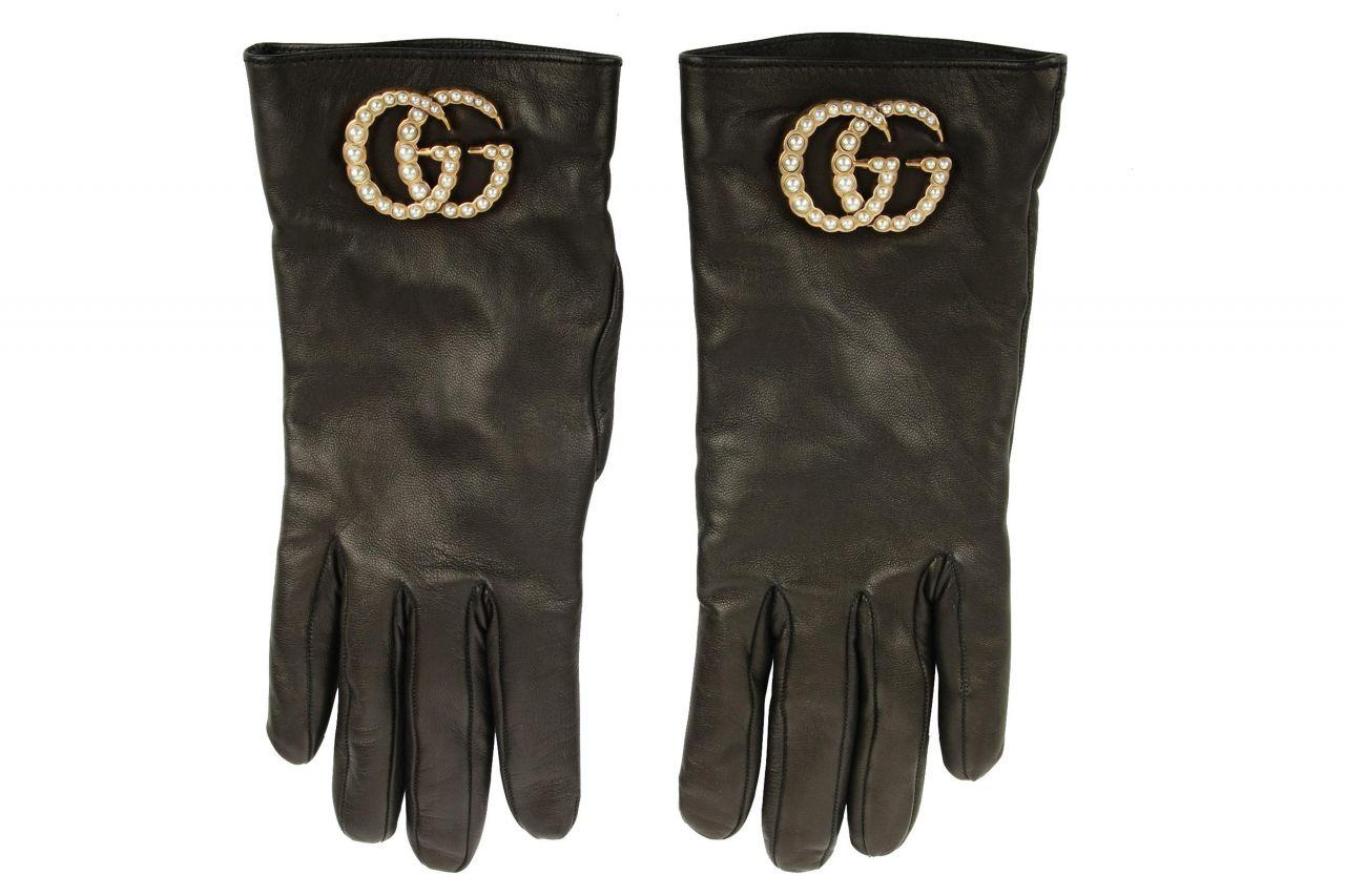 Gucci Lederhandschuhe Dunkelbraun