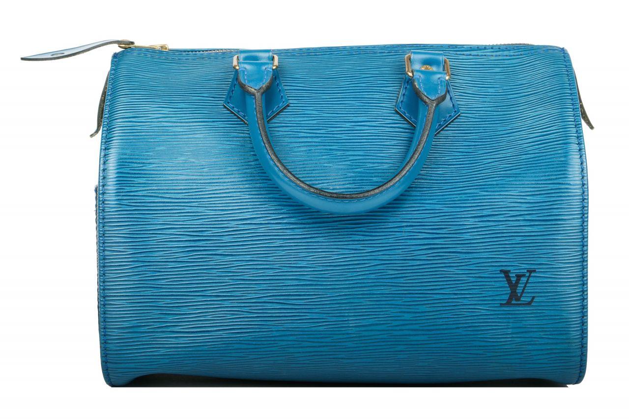 Louis Vuitton Speedy 25 Epi Leder Cyan