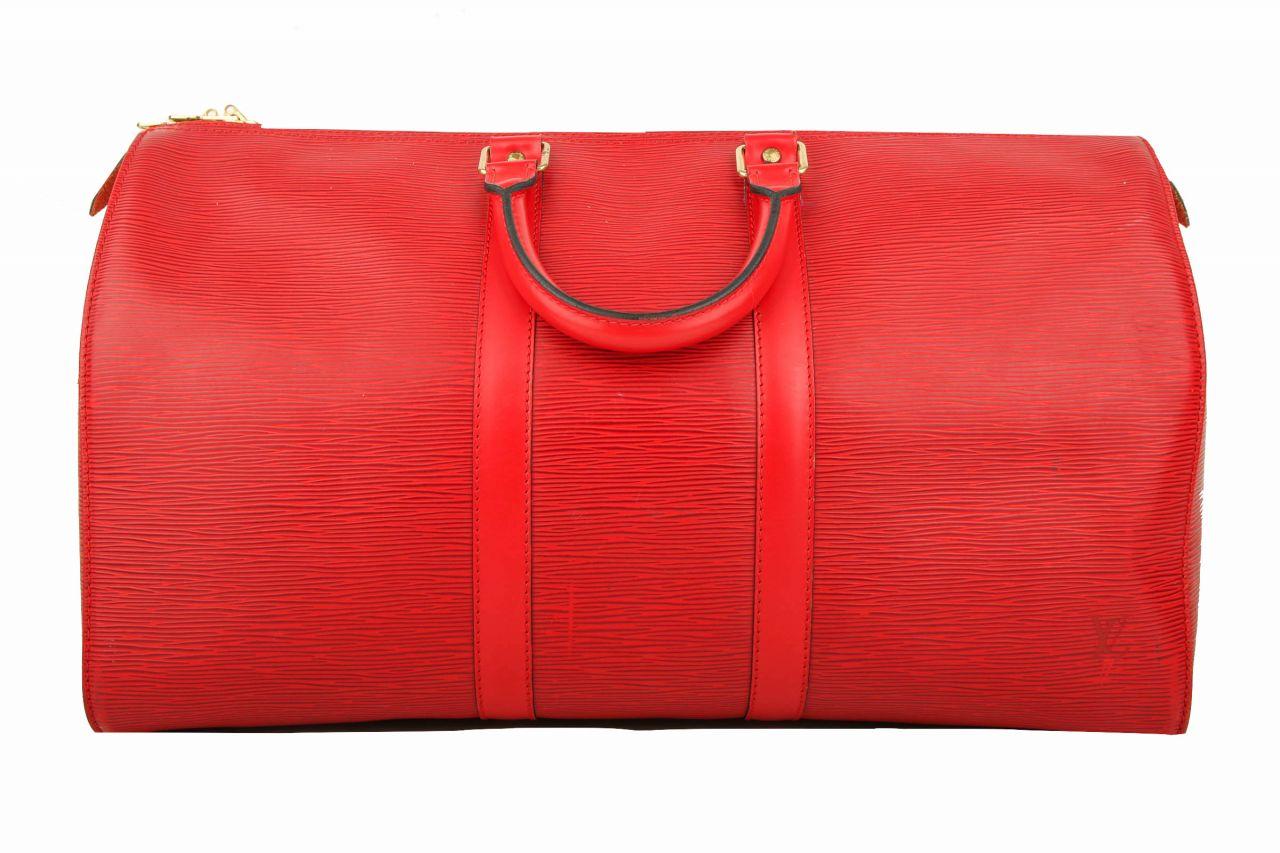 Louis Vuitton Keepall Epi Leder Rot