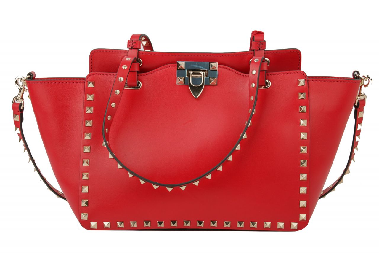 Valentino Rockstud Butterfly Tote Bag Rot
