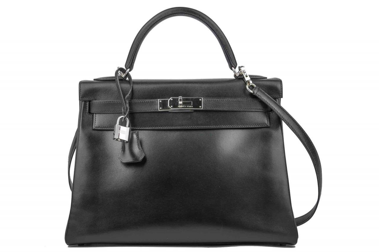 Hermès Kelly Bag 32 Retourne Bijou Schwarz