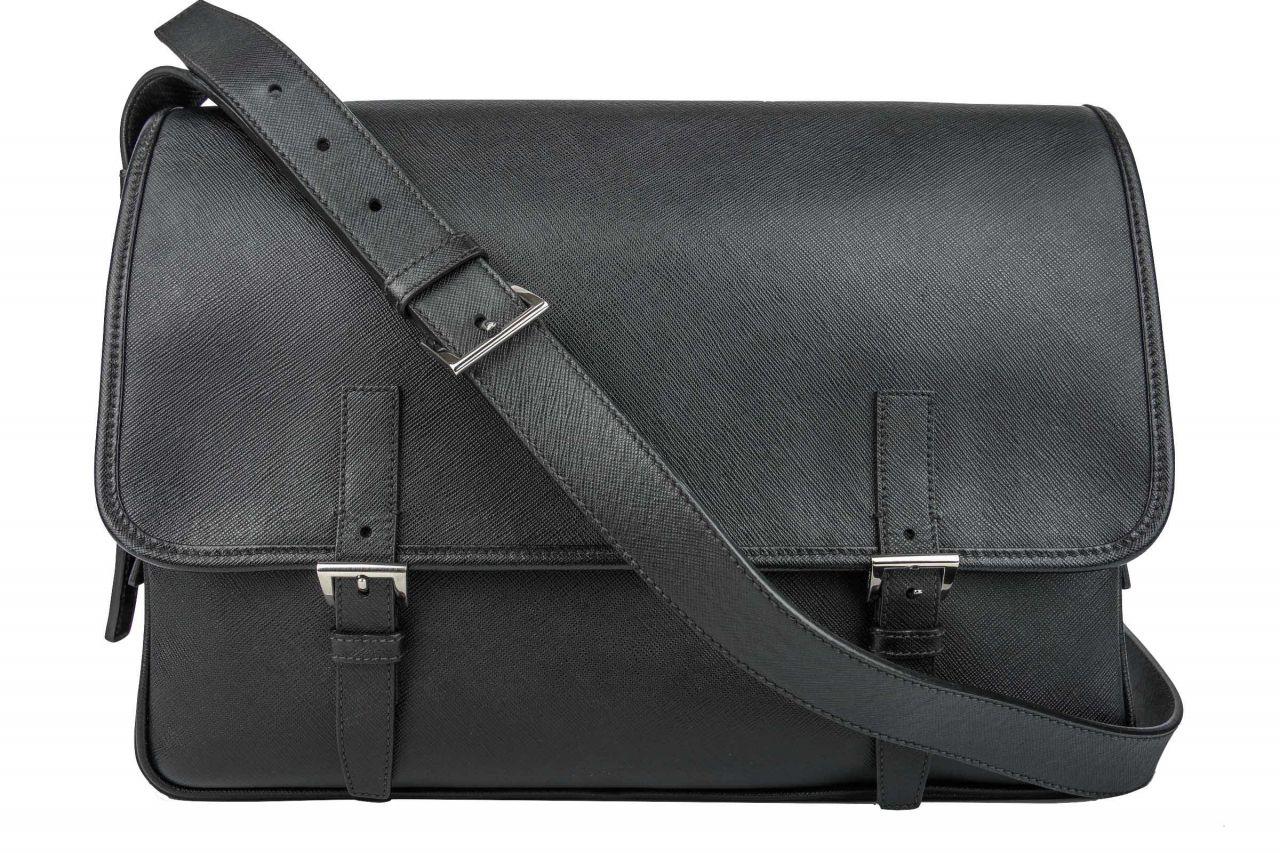 Prada Messenger Bag Saffiano Leather Black