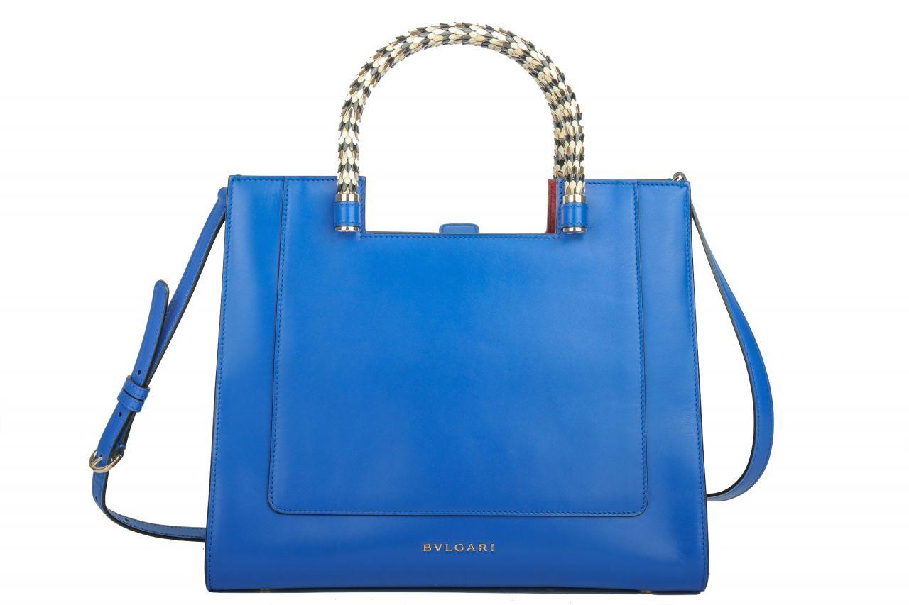 Bulgari Handtasche Leder Blau