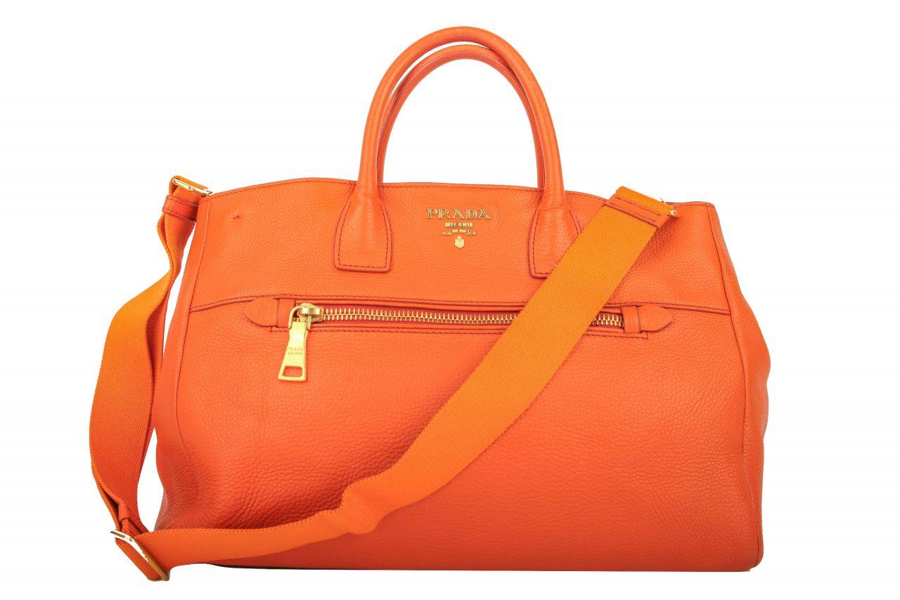 Prada Vitello Daino Shopper Orange