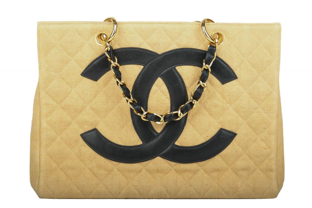 Chanel Leinen Shopper Beige Schwarz
