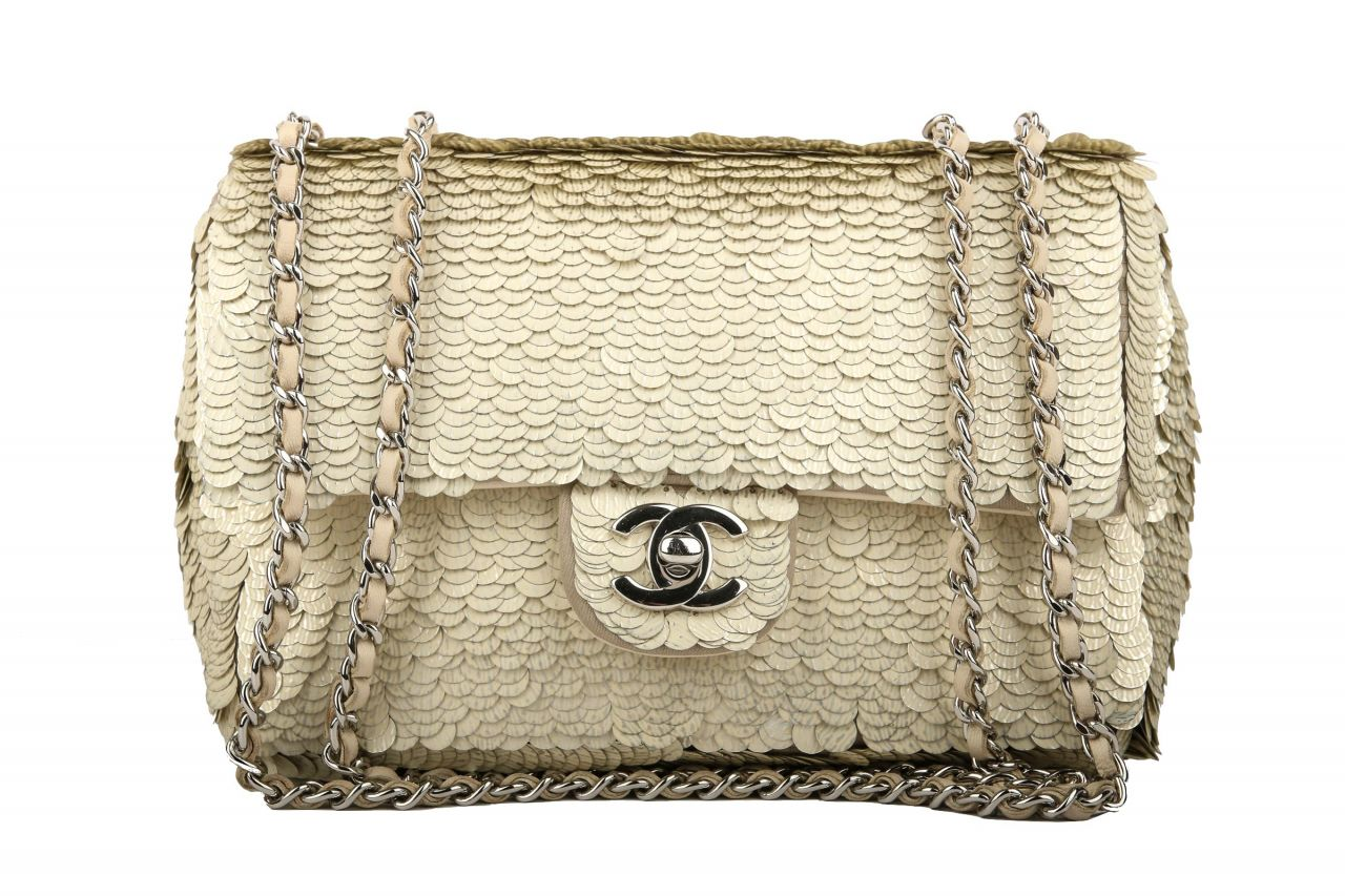 Chanel Flap Bag mit Pailletten Besatz Small Gold/Silber