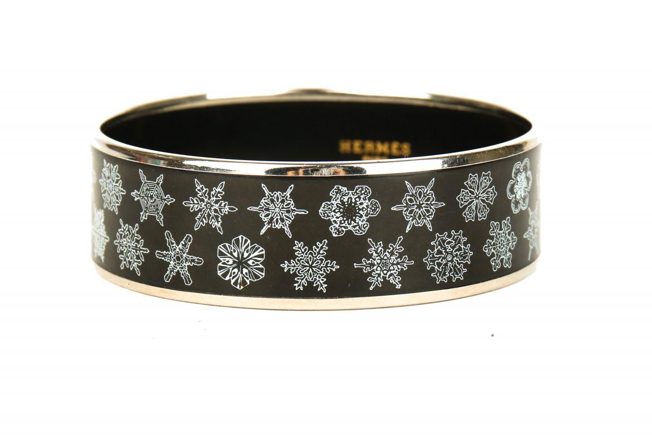 Hermès Armreif Email Schwarz/Silber mit Wintermotiv
