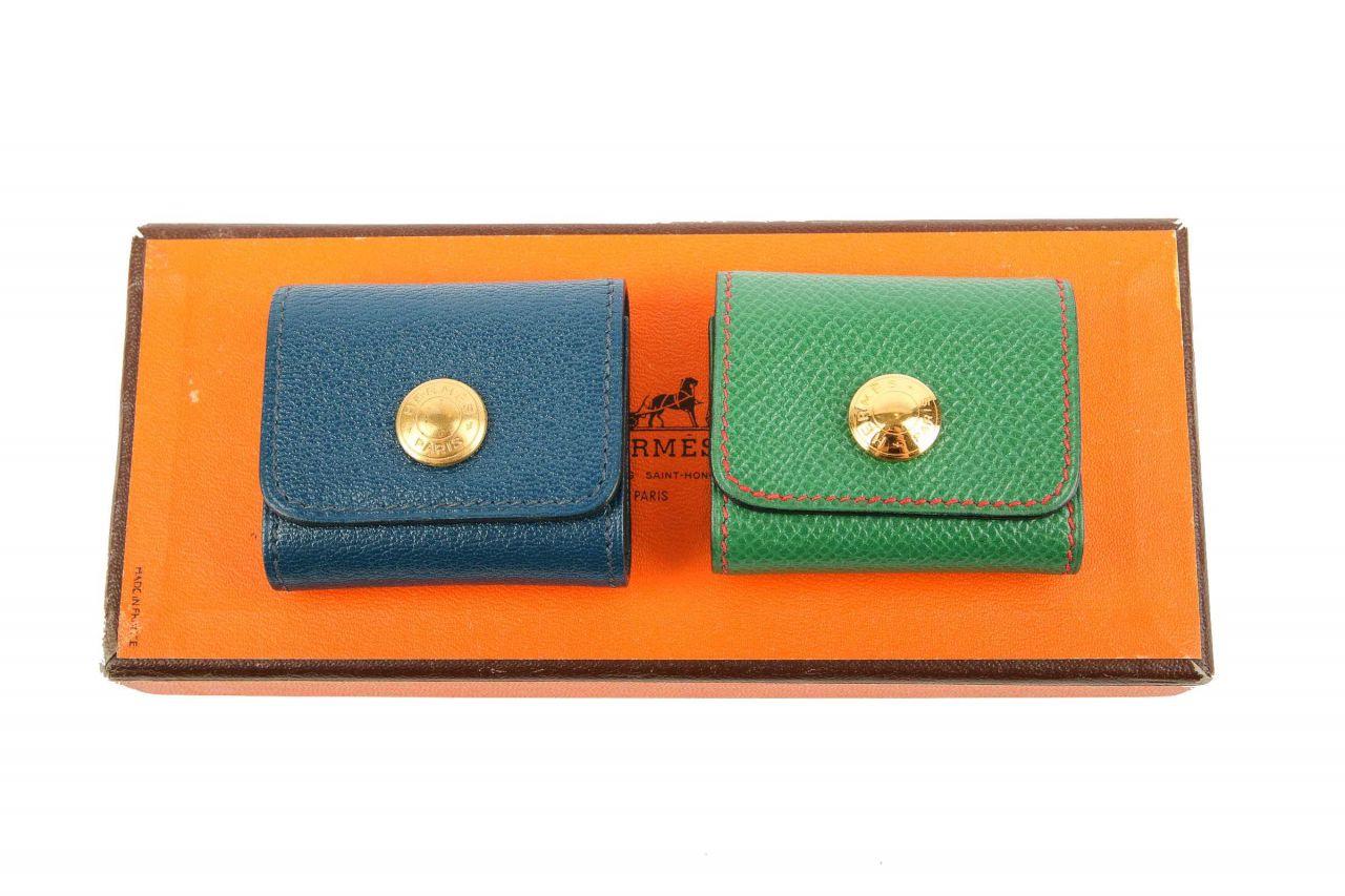 Hermès Notiz Mappe Grün Blau